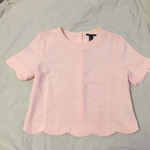 Forever 21 scalloped edge top-peachy pink
